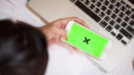 Businesswoman using a Smartphone Touchscreen CHROMA KEY