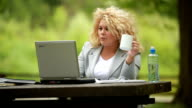 Businesswoman Using Computer In A Green Environment