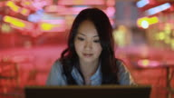 CU SELECTIVE FOCUS Businesswoman using laptop, Los Angeles, California, USA