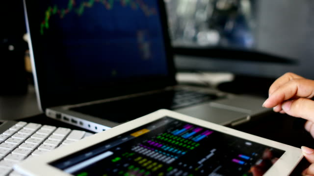 Businesswoman using Tablet analysis stock