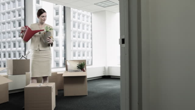 Businesswoman watering plant in room of cardboard boxes