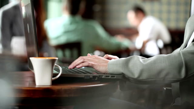Businesswoman with laptop in the restaurant.