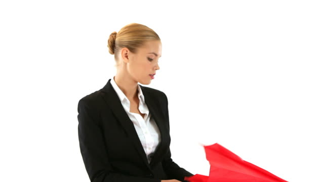 Donna d'affari con ombrello