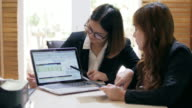 Businesswomen Working Together and working analyse information on laptop