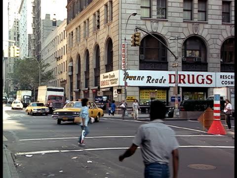 A bustling New York City street.