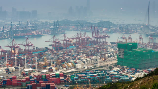 T/L WS ZO Busy cargo container terminal Day-to-Night transition / Hong Kong, China