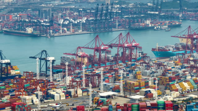 T/L WS HA PAN Busy cargo container terminal / HongKong, China