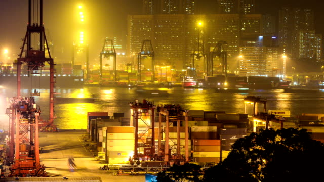Busy container harbor  Hong kong at night, timelapse.