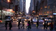WS Busy downtown street at dusk / New York City, New York, USA