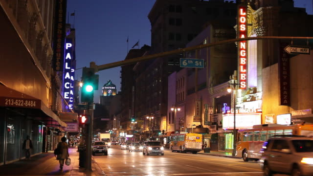 WS Busy downtown street at night / Los Angeles, California, USA