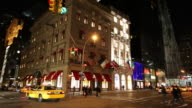 WS Busy downtown street at night / New York City, New York, USA