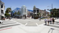 Busy intersection on Rodeo Drive, Beverly Hills, Los Angeles, California, United States of America, North America, Time-lapse