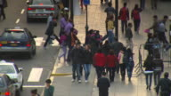 'Busy pedestrian crossing at corner of Plaza Mayor/Plaza de la Armas of Lima, Lima, Peru'