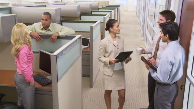 Busy people talking in cubicles