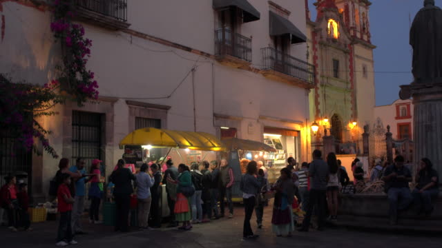 Busy plaza in Queretaro, Mexico