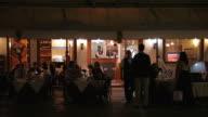 WS LD Busy Restaurant at Night / Venice, Italy