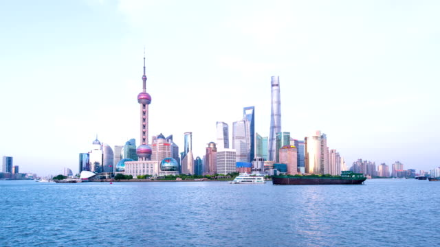 busy ships on river and panoramic cityscape of modern city shanghai,time lapse.