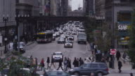 WS HA Busy street intersection and Chicago Transit Authority elevated train in the Loop, Chicago, Illinois, USA