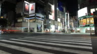 T/L WS Busy street intersection at night / Tokyo, Japan