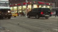 MS Busy street intersection in Winter / New York City, New York, USA