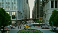 Busy street traffic in downtown Chicago, HD 1080p