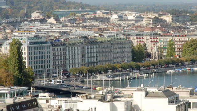 T/L, WS, Busy streets and lake, Geneva, Switzerland