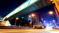 Busy traffic in modern city hongkong at night,timelapse.