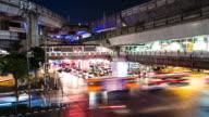 Busy traffic of a city at night Bangkok Thailand