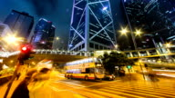 Busy traffic,illuminated buildings and pedestrians at zebra crossing at night,time lapse.