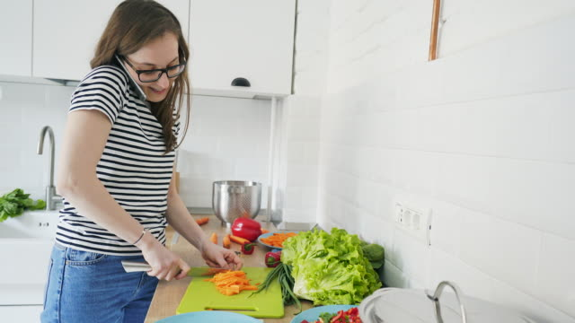 Busy woman enjoy cooking.