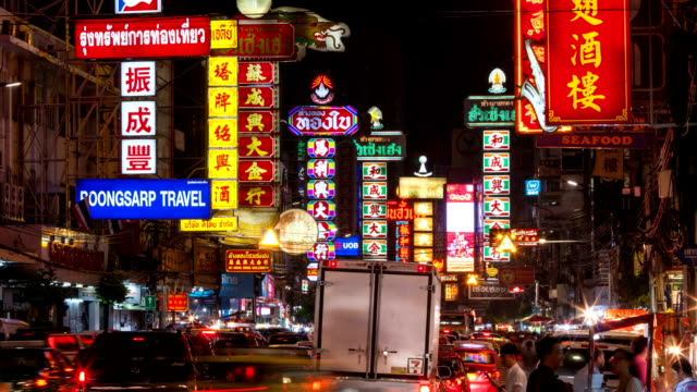 Occupato Yaowarat Road nella notte, time lapse