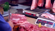 HD butcher chopping meat at Asian market