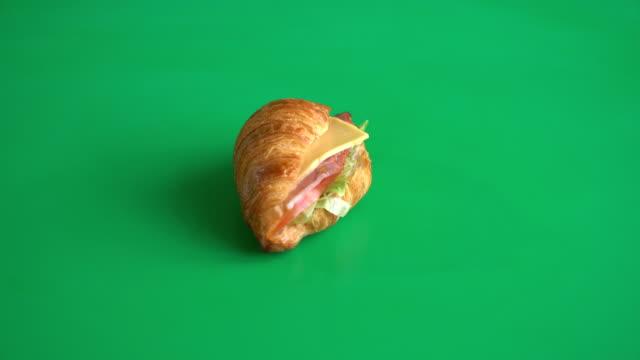 butter croissant ham cheese sandwich