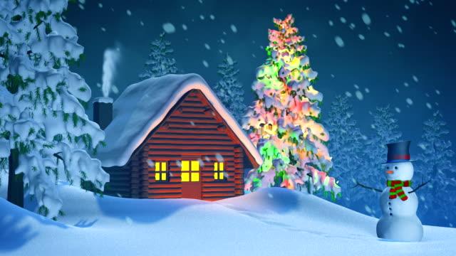 Cabine sapin de no l et bonhomme de neige en hiver paysage for Colline o cabine marroni