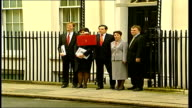 Cabinet arrivals and departures at No 10 ENGLAND London Downing Street EXT Gordon Brown MP with treasury team out of No 11 pose for press as Brown...