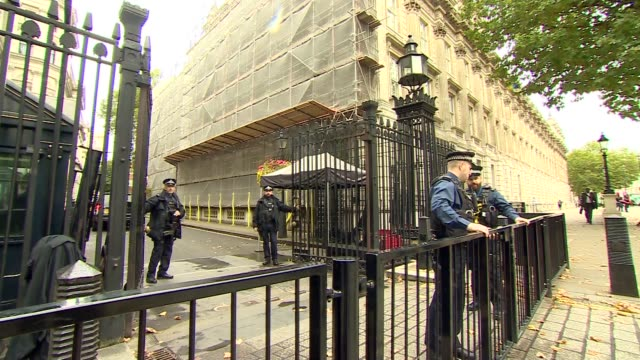 Cabinet arrivals at Downing Street gate ENGLAND London Whitehall EXT Patrick McLoughlin MP arriving / cars through gates / Jeremy Hunt MP / Alun...