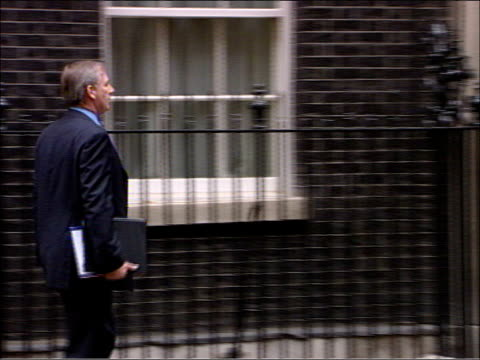 Cabinet arrivals at Number Ten Downing Street Geoff Hoon MP through gate and along / Alistair Darling MP / Jack Straw MP through gate and replying to...