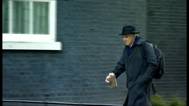 London Downing Street EXT Eric Pickles MP arriving / unidentified man along / Dominic Grieve QC arriving / Kenneth Clarke MP and Lord Strathclyde out...