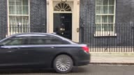 London Downing Street EXT George Osborne MP out of car and arriving at Number 10 / Matthew Hancock MP out of car and arriving / Justine Greening MP...