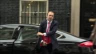 London Downing Street EXT Greg Clarke MP arriving / Sajid Javid MP arrival / Greg Hands MP arriving / Patrick McLoughlin MP arriving / Elizabeth...