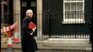 London Downing Street EXT Hilary Benn/Mervyn King departs No10/Jack Straw/Yvette Cooper/John Denham/Tessa Jowell/Paul Murphy/Harriet Harman/Geoff...