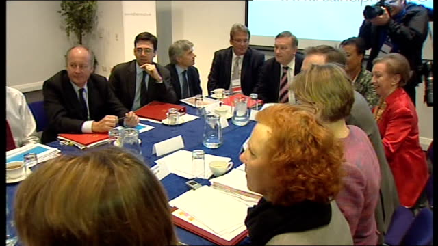 Cabinet meeting held in Glasgow SCOTLAND Glasgow INT Prime Minister Gordon Brown MP and Cabinet members sitting at table for Cabinet meeting includes...