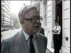 Cabinet reshuffle EXT Carleton Gardens CMS Sir Geoffrey Howe intvw SOF