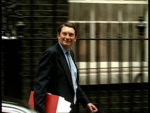 Ministers at Downing Street ITN EXT Downing St Kenneth Baker out and stands in street / John Moore out and along / Kenneth Clarke out and along /...