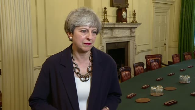 Theresa May interview ENGLAND London Downing Street INT Theresa May MP interview SOT on need for stability and certainty on Cabinet reshuffle Brexit...