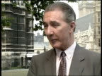 Cabinet reshuffle Westminster CMS Robert McCrindle intvw SOF MS Frank Dobson walking across grass LR CMS Frank Dobson intvw SOF MS John Major out of...
