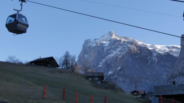 Cable car and The Wetterhorn, Grindelwald, Jungfrau region, Bernese Oberland, Swiss Alps, Switzerland, Europe