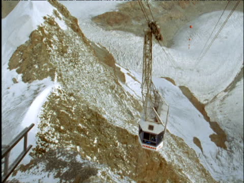 Cable car arrives at summit of mountain Switzerland