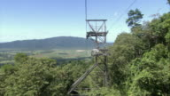 MS AERIAL POV Cable car moving over trees / Bellenden Ker, Queensland, Australia