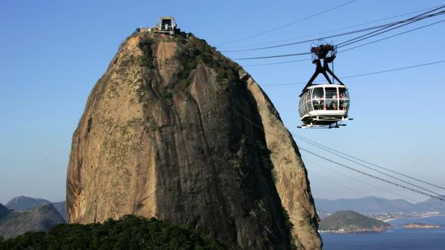 T/L, WS, Cable car  on Sugarloaf Mountain, Rio de Janeiro, Brazil